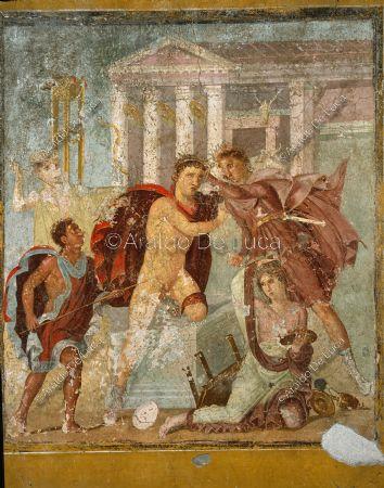 Casa de Marco Lucrecio Frontone. Triclinium. Fresco con el asesinato ...